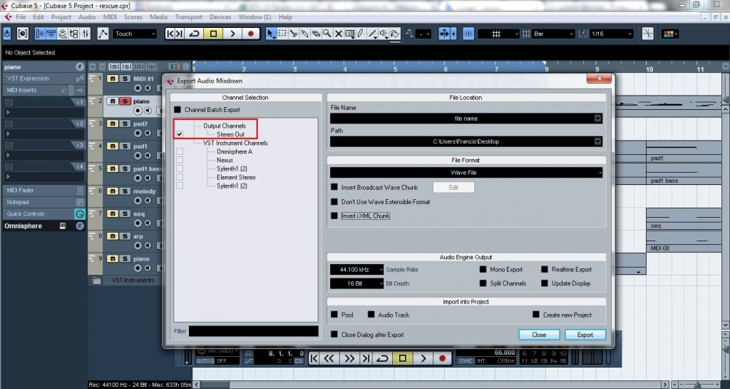 Cubase - How to export midi and VST instruments as audio files 6