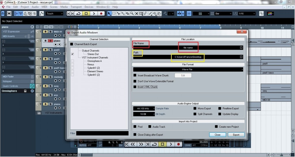 Cubase - How to export midi and VST instruments as audio files 7