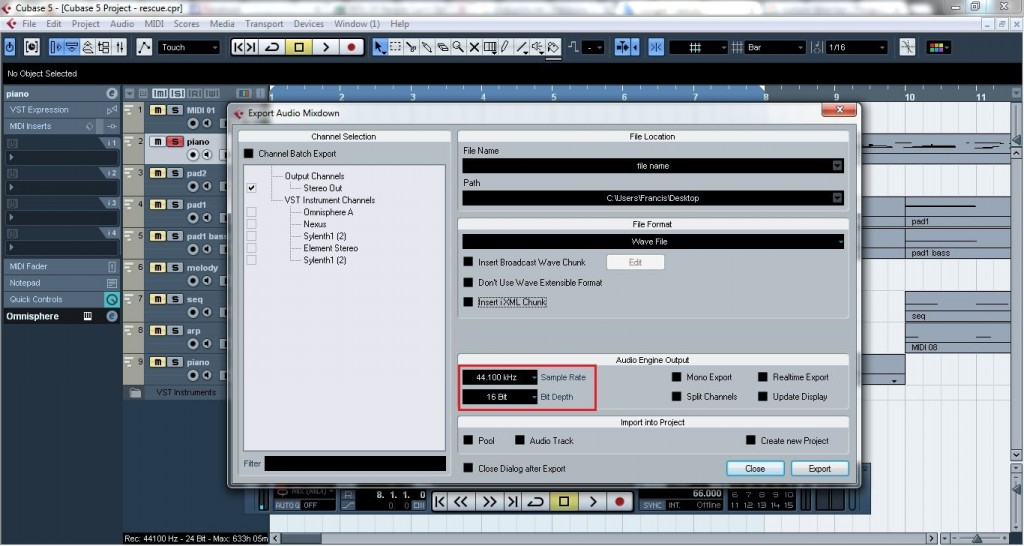 Cubase - How to export midi and VST instruments as audio files